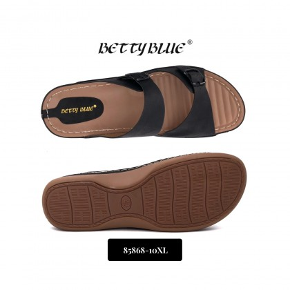 Betty Blue Women's Black Plus Size Wide and Adjustable Buckles Slides Slippers Sandals 85868-10XL
